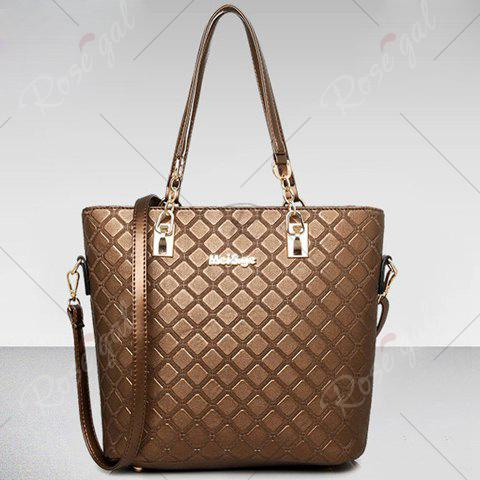 Chic Elegant Checked and PU Leather Design Shoulder Bag For Women - COFFEE  Mobile