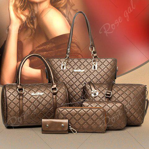 Sale Elegant Checked and PU Leather Design Shoulder Bag For Women - COFFEE  Mobile