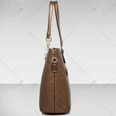Shop Elegant Checked and PU Leather Design Shoulder Bag For Women - COFFEE  Mobile