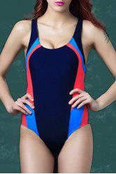 Women's Alluring Scoop Neck Hit Color Elastic One Piece Swimwear