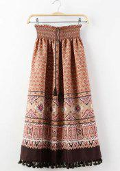 Ethnic Style Elastic Waist Tassel Embellished Printed Skirt For Women -