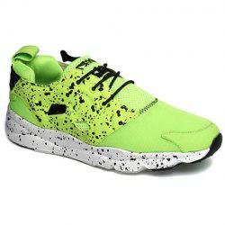 Casual Cloth and Lace-Up Design Sneakers For Men - GREEN