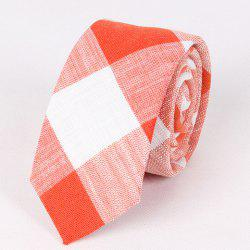 Fashionable 6.5CM Width Flax Plaid Pattern Tie For Men -