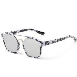 Chic Metal Bar Embellished Stone Pattern Sunglasses For Women - BLACK