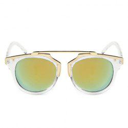 Chic Golden Metal Splicing Transparent Frame Sunglasses For Women
