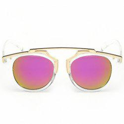 Chic Golden Metal Splicing Transparent Frame Sunglasses For Women - PURPLE