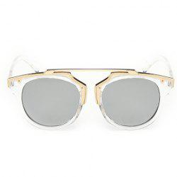 Chic Golden Metal Splicing Transparent Frame Sunglasses For Women - WHITE
