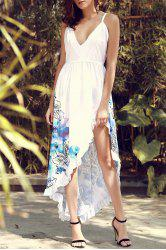 Spaghetti Strap Floral Print Slit Sleeveless Plunge Dress