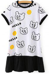 Sweet Round Neck Short Sleeve Bear Pattern Women's Dress