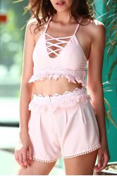 Stylish Cami Pink Crop Top and Tassels Shorts Women's Suit