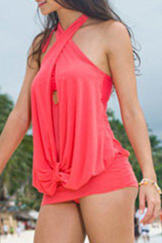 Store Sexy Halter Ruffled Swimsuit For Women