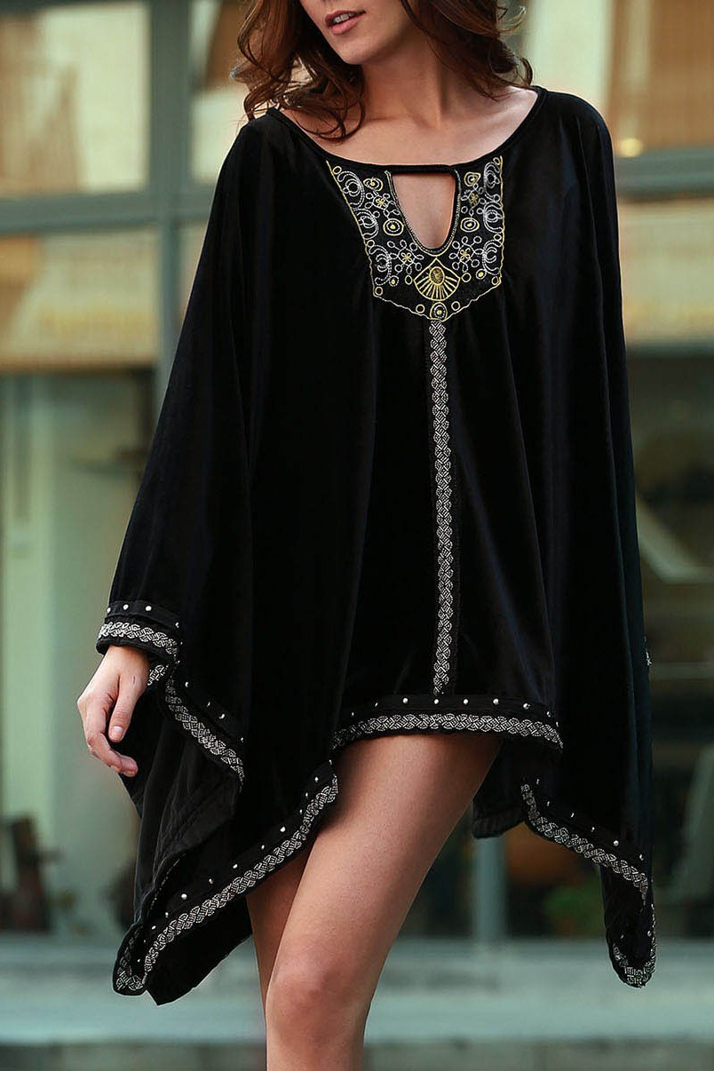 Hot Stylish Long Sleeve Embroidery Beaded Women's Dress
