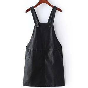 Stylish PU Leather Two Pockets Women's Suspender Skirt