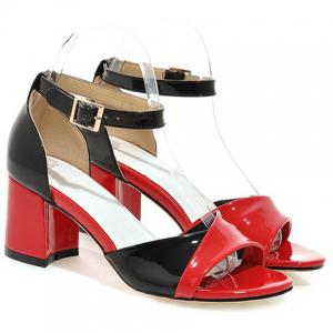 Casual Color Block and Two Piece Design Sandals For Women - RED 39