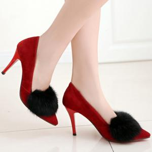 Trendy Faux Fur and Suede Design Pumps For Women - WINE RED 39