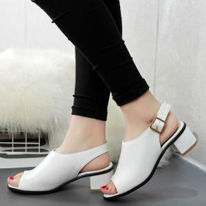 Leisure Slingback and Chunky Heel Design Peep Toe Shoes For Women -