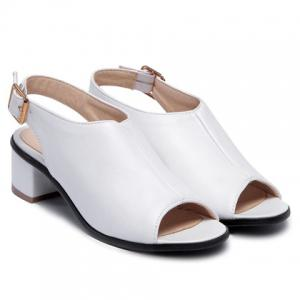 Leisure Slingback and Chunky Heel Design Peep Toe Shoes For Women - WHITE 37