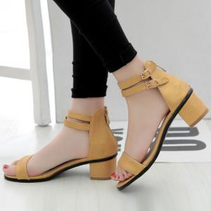 Leisure Double Strap and Chunky Heel Design Sandals For Women -