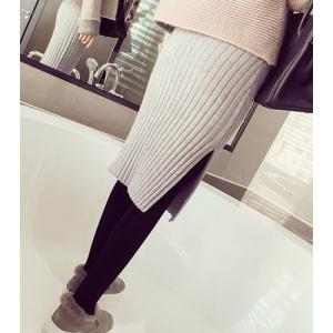Sweet Side Slit Knit Bodycon Mid-Calf Women's Skirt -