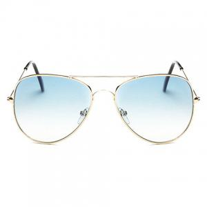 Gradual Color Lenses Metal Frame Pilot Sunglasses - Light Blue