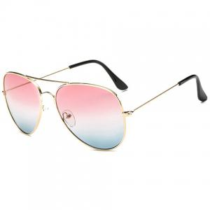 Gradual Color Lenses Metal Frame Pilot Sunglasses -