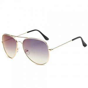 Gradual Color Lenses Metal Frame Pilot Sunglasses - PURPLE