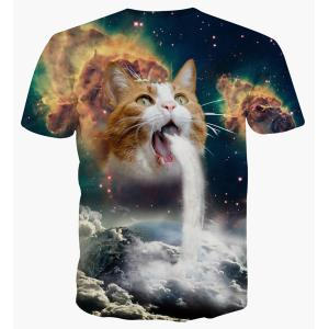 Round Neck 3D Cat Abstract Print Short Sleeve T-Shirt For Men - COLORMIX XL