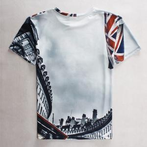 Round Neck Letters Print Building Pattern Short Sleeve Men's T-Shirt -