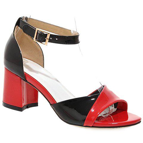 Cheap Casual Color Block and Two Piece Design Sandals For Women - 39 RED Mobile