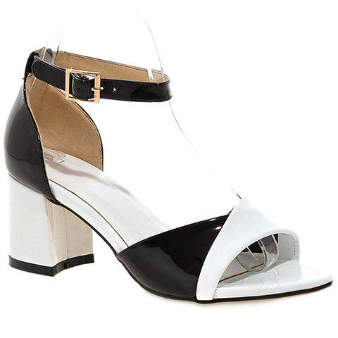 Outfit Casual Color Block and Two Piece Design Sandals For Women - 39 WHITE Mobile