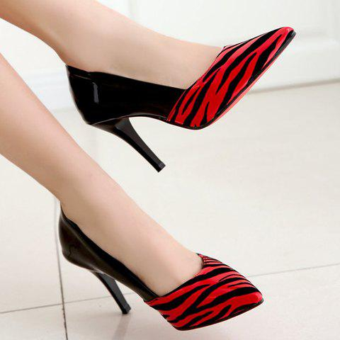 Shop Sweet Patent Leather and Pointed Toe Design Pumps For Women - 35 RED Mobile