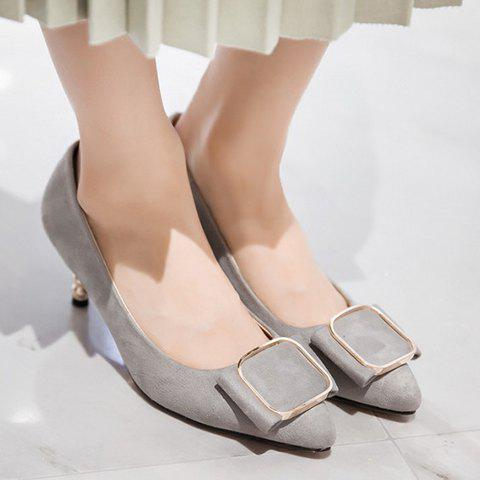 Affordable Simple Slip-On and Suede Design Pumps For Women - 38 GRAY Mobile