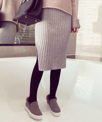 Best Sweet Side Slit Knit Bodycon Mid-Calf Women's Skirt