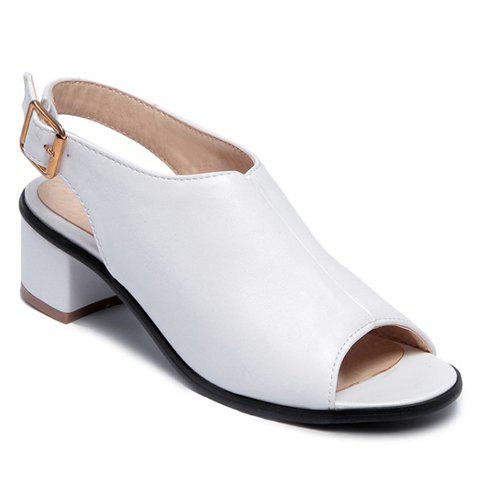Fancy Leisure Slingback and Chunky Heel Design Peep Toe Shoes For Women WHITE 37