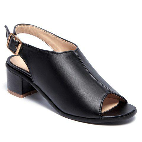 Discount Leisure Slingback and Chunky Heel Design Peep Toe Shoes For Women - 38 BLACK Mobile
