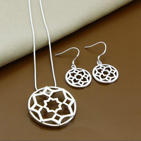 Cheap A Suit of Alloy Floral Hollow Out Necklace and Earrings