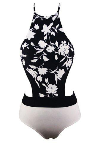 Affordable Halter Hollow Out Floral Printed One-Piece Swimsuit For Women