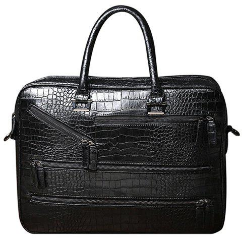 Cheap Stylish Crocodile Print and Zips Design Briefcase For Men