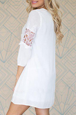 Latest 3/4 Sleeve Cut Out Short A Line Dress - XL WHITE Mobile