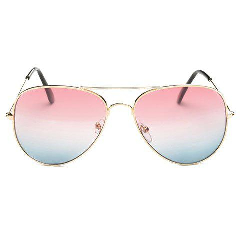 Affordable Gradual Color Lenses Metal Frame Pilot Sunglasses PINK