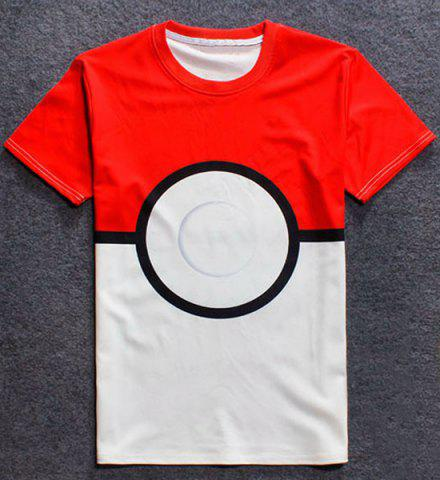 Affordable Round Neck 3D Color Block Geometric Splicing Short Sleeve T-Shirt For Men