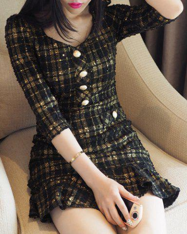 Online Women's Stylish 3/4 Sleeve Sweetheart Neck Plaid Mermaid Dress