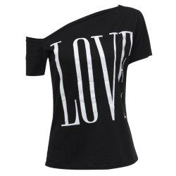 Sexy Skew Neck Letter Printed Asymmetric T-Shirt For Women