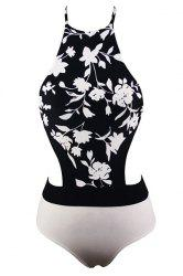 Halter Hollow Out Floral Printed One-Piece Swimsuit For Women -