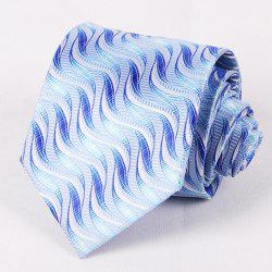 Hot Sale 8.5CM Width Blue Shades Geometry Jacquard Tie For Men - BLUE