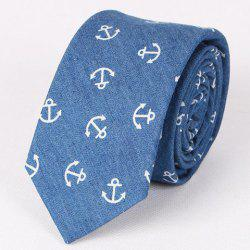 Hot Sale Retro Anchor Pattern Denim Neck Tie For Men -
