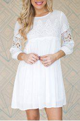3/4 Sleeve Cut Out Short A Line Dress - WHITE