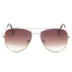 Gradual Color Lenses Metal Frame Pilot Sunglasses - TEA-COLORED