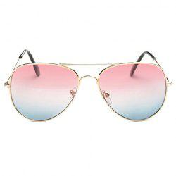 Gradual Color Lenses Metal Frame Pilot Sunglasses - PINK
