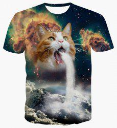 Round Neck 3D Cat Abstract Print Short Sleeve T-Shirt For Men - COLORMIX L